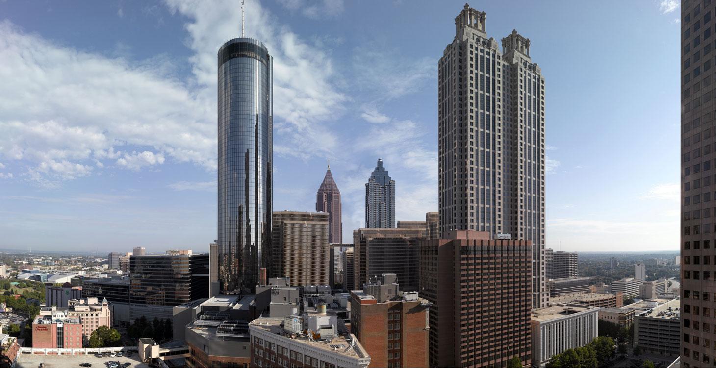 Atlanta Skyline Day, Richard Lund, lyrical clouds