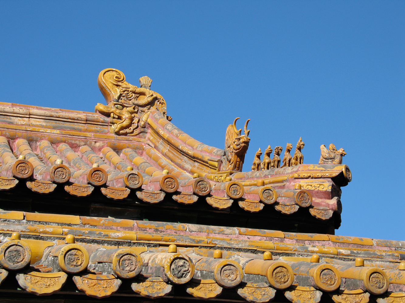 Roof figures on Chinese Imperial Palace, Richard Lund, Shenyang, Liaoning Province