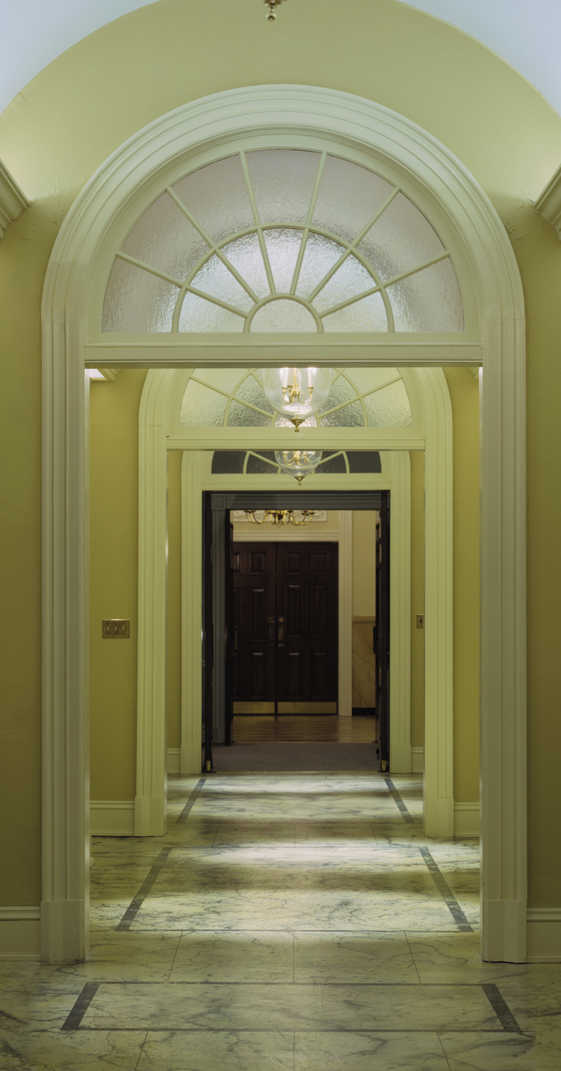 Long hallway in West Wing, Ken Hardy's connection, Richard Lund, translite