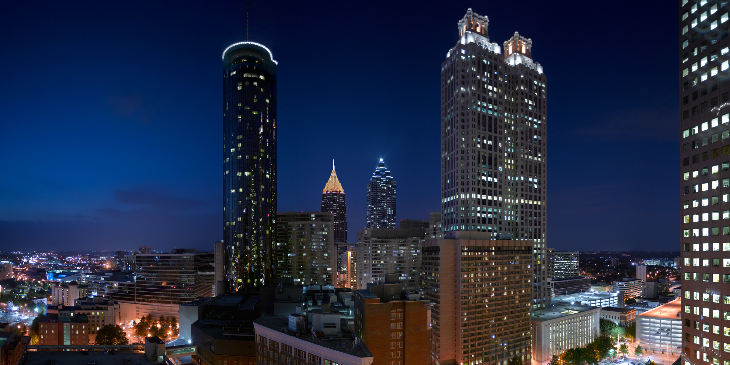 Richard Lund, Atlanta skyline at night, translite of Atlanta