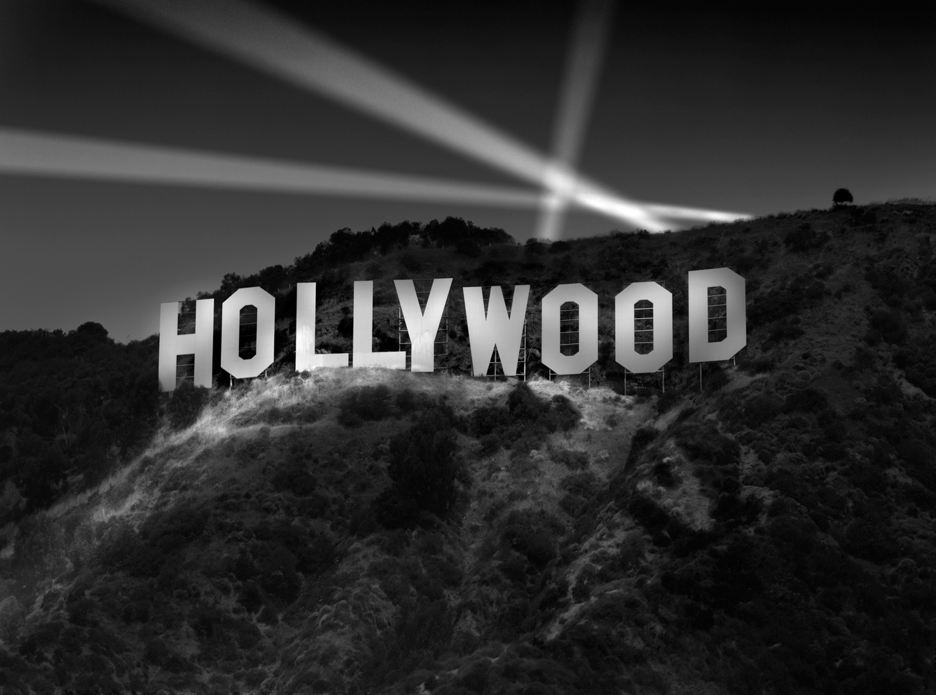 Hollywood sign, Richard Lund, Hollywood sign at night, Akira Yoshimura